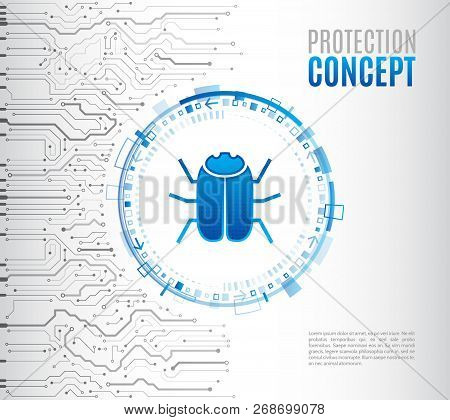 Abstract High Tech Circuit Board With Hacker Bug. Hacking And Cyber Crime. Personal Data Security Co