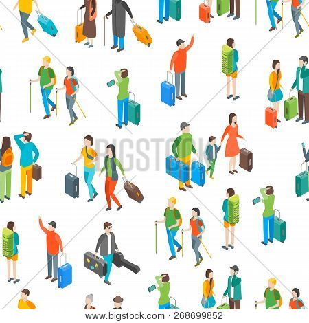 Isometric Travel People Characters Seamless Pattern Background. Vector