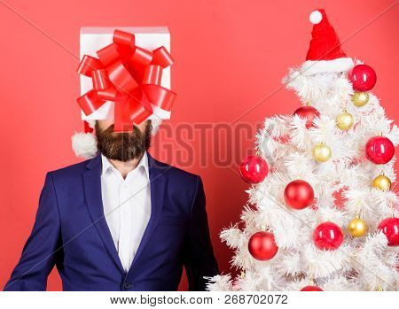 Come Up With Good Present. Gift Service. Head Downtrodden With Thoughts What To Gift. Man Bearded Fo