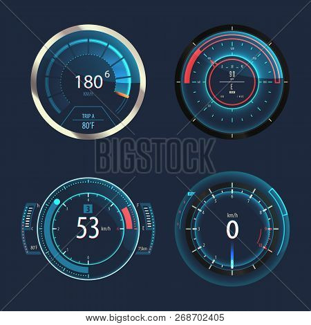 Set Of Isolated Speedometers For Speed Measure Or Odometer With Arrows. Odograph Gauge For Automobil