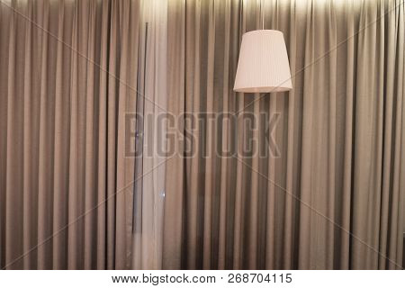 Beautiful Ceiling Lamp With A Curtain. Lighting Fixture.