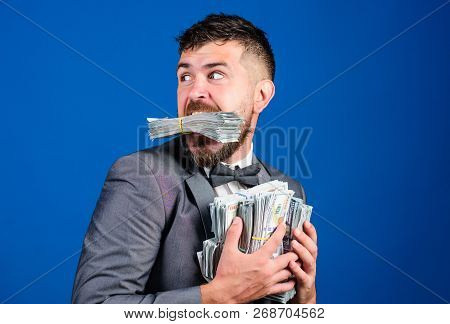 Steal Money. Thief With Piles Dollars Money. Earnings Surprise Concept. Man Bearded Businessman Hold