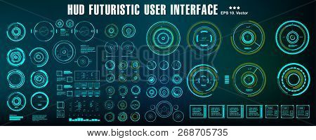 Hud Futuristic Green User Interface. Sci-fi Futuristic Hud Dashboard Display Virtual Reality Technol