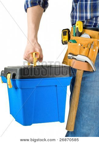 man and toolbox with set of tools isolated on white background