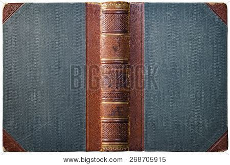 Old Open Book Cover With Embossed Brown Leather Spine, Cloth Boards And Abstract Geometric Decoratio