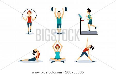 People Doing Sport Exercises Set, Men And Women Jumping Rope, Running On A Treadmill, Doing Fitness