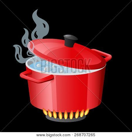 Red Pan, Saucepan, Pot, Casserole, Cooker, Stewpan With Boiling Water And Closed Pan Lid Vector Isol