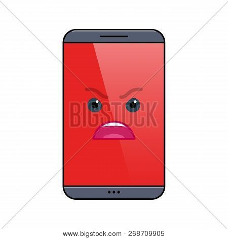 Angry mobile phone isolated emoticon icon. Furious digital device emoji symbol. Social communication and chatting. Enraged smartphone showing facial emotion. Animated cell phone vector illustration poster