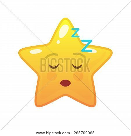Sleeping Star Shaped Comic Emoticon. Dozed Face With Facial Expression. Napping Emoji Symbol For Int