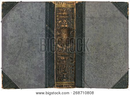 Old Open Book - Cover With Embossed Leather Spine - Circa 1896 - Isolated On White - Perfect In Deta