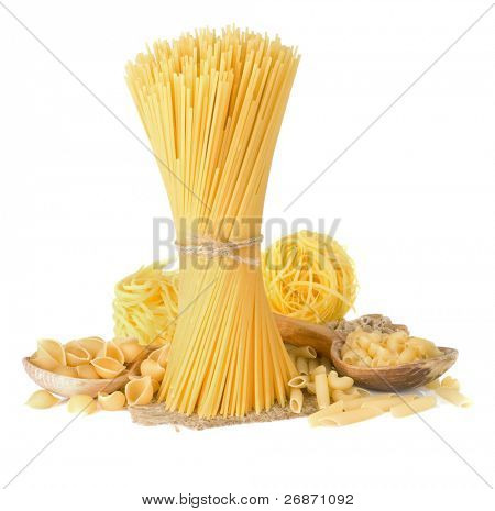 pasta and wooden spoon isolated on white background