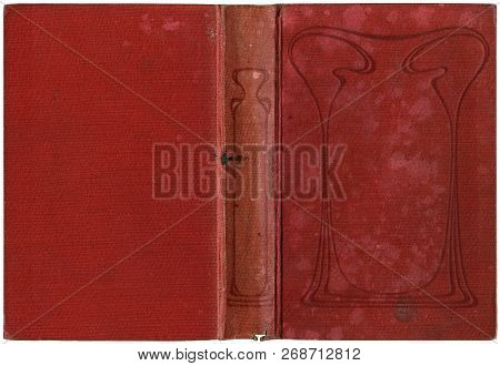 Old Open Book Cover - Canvas - Circa 1909 - Art Nouveau - Isolated On White - Perfect In Detail! - X