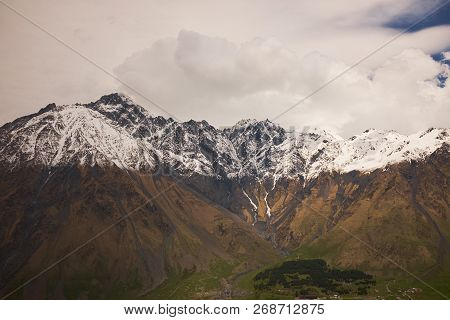 Landscape Of A Valley Of A Mountain Valley, Mountains With Snow-capped Peaks, Mountain Peaks, Georgi