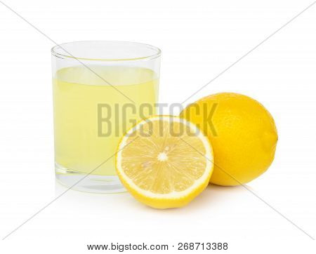 Closeup Glass Of Lemon Juice Drink Isolated On White Background, Food Heathy Concept