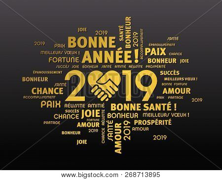 Happy New Year 2019 Greeting Card In French
