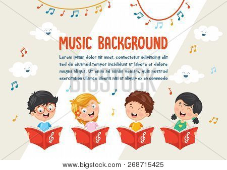 Vector Illustration Of Happy And Cute Kids Choir