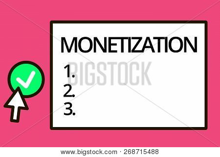 Conceptual hand writing showing Monetization. Business photo text Process of converting establishing something into legal tender poster