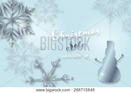 Christmas Time. Background With Snowflakes And Snowman. Text : Christmas Sale