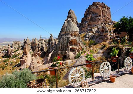 Uchisar Castle In Cappadocia, Turkey. Cave Houses In Cones Sand Hills. Landscape Photography
