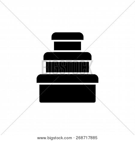 Black & White Vector Illustration Of Organizer Boxes. Flat Icon Of Storage Items. Decorative Contain