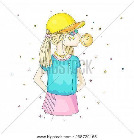 Young Teen Girl In A Baseball Cap With Headphones Blowing Bubblegum. Little Girl Vector Cartoon Hand