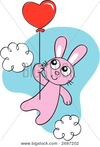 Bunny Rabbit With Balloon