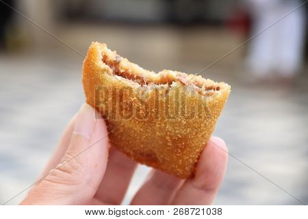 Portugese Food - Breakfast Or Lunch Pastry Item: Rissole. Deep Fried Minced Meat Croquette.