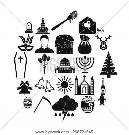 Faith Icons Set. Simple Set Of 25 Faith Icons For Web Isolated On White Background