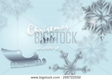 Christmas Time. Background With Snowflakes And Sleigh. Text : Christmas Sale