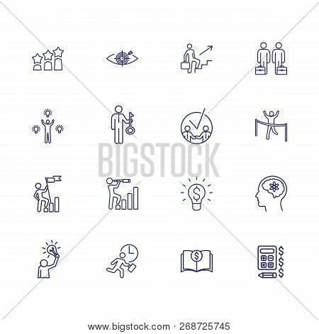Goal Achieving Line Icon Set. Businessman, Leader, Winner. Business Concept. Can Be Used For Topics