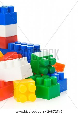 colorful plastic toys isolated on white background