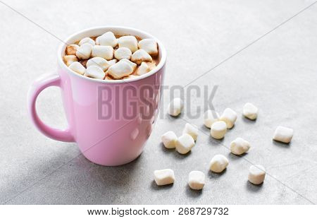 Hot Chocolate Or Cocoa Drink In A Cup Or Mug. Top View Of Hot Chocolate With Marshmallows On A Concr