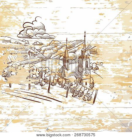 Vintage Vineyard Drawing On Wooden Background. Hand-drawn Vector Illustration.