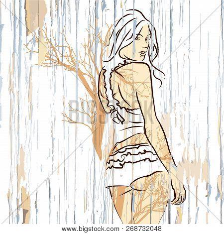 Female Look Over Shoulder On Wooden Background. Hand-drawn Vector Vintage Illustration.
