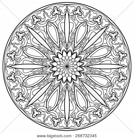 Black And White Page For Coloring. Fantasy Drawing Of Beautiful Gothic Rose Window With Stained Glas