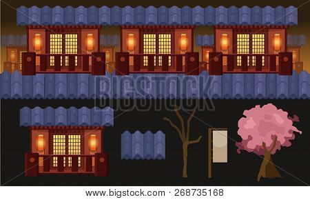 Ninja Game Background, 2d Parallax Side Scrolling Game Assets. Materials And Textures For The Game.