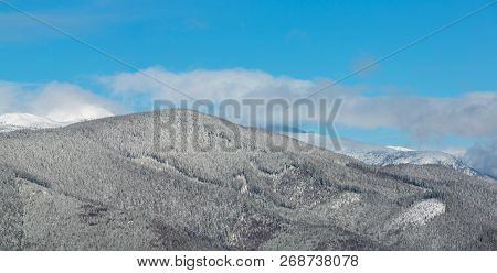 Picturesque Winter Morning Mountains Panorama View From Skupova Mountain Alpine Slope. Verkhovyna Di