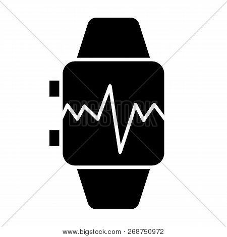 Smart Watch With Pulse Solid Icon. Smart Watch With Heartbeat Vector Illustration Isolated On White.