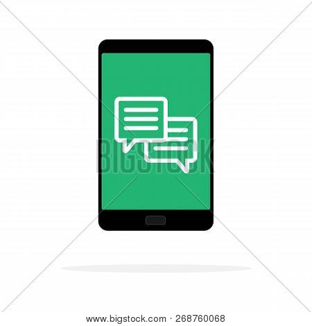 Mobile Phone Chat Message Notifications Vector Illustration Isolated On Color Background, And Chatti