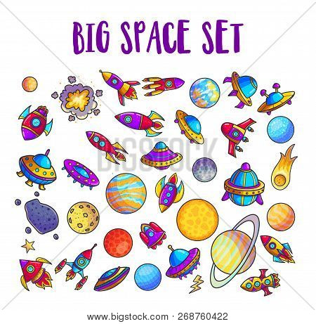 Space Hand Drawn Cartoon Vector Illustrations Set. Doodle Asteroid, Rockets, Planets Cliparts. Cosmi