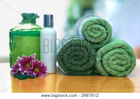Green Towels In Bathroom