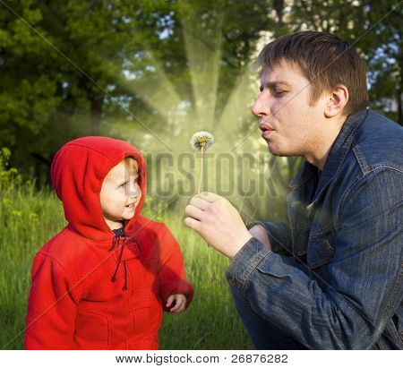 The daddy and a small daughter blow on a white dandelion