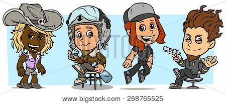 Cartoon Funny Boy And Girl Characters. Vol. 32. Cowgirl, Pilot And Thief. Vector Icons Set