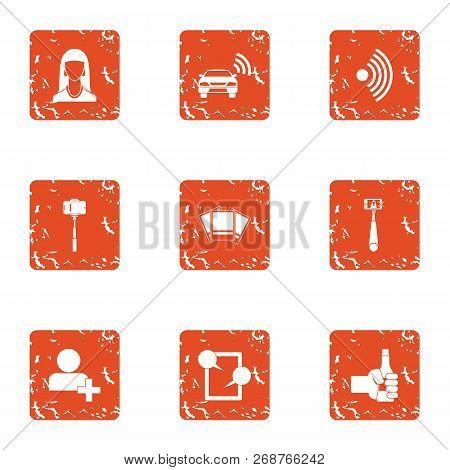 Wifi Photo Icons Set. Grunge Set Of 9 Wifi Photo Icons For Web Isolated On White Background