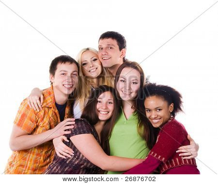 Group of embrace student isolated on white background