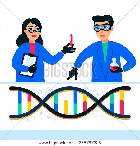 Genome Sequencing Concept. Scientists Working In Nanotechnology Or Biochemistry Laboratory. Molecule