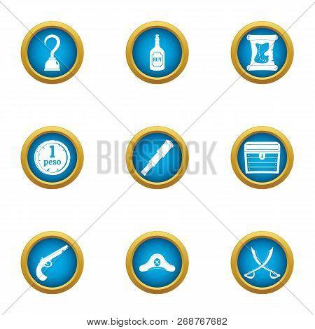 Filibuster icons set. Flat set of 9 filibuster icons for web isolated on white background poster