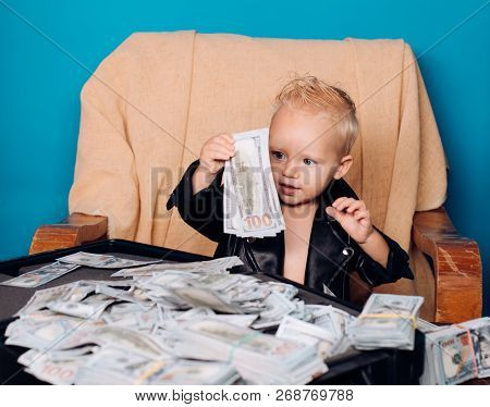 Work Hard Play Hard. Little Boy Count Money In Cash. Small Child Do Business Accounting In Startup C