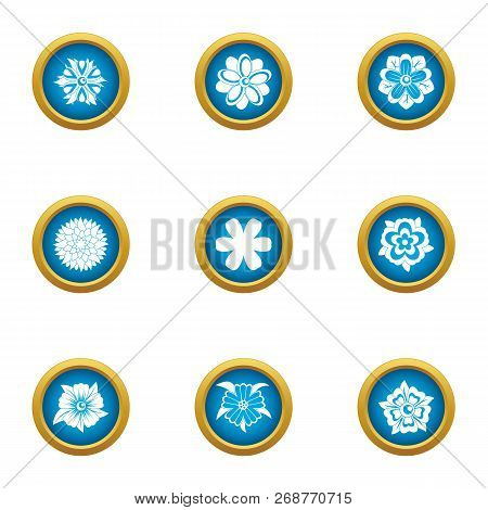 Passionflower Icons Set. Flat Set Of 9 Passionflower Icons For Web Isolated On White Background