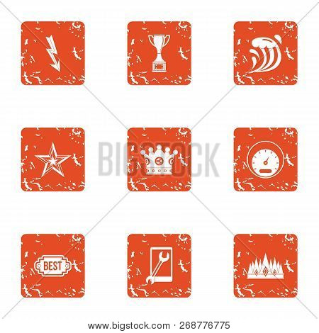 Quick Decision Icons Set. Grunge Set Of 9 Quick Decision Icons For Web Isolated On White Background
